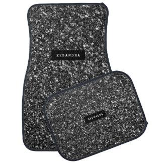 Modern Black Faux Glitter Monogram Car Mat