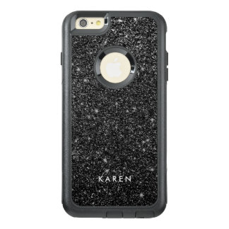 Modern Black Faux Glitter Monogram D5 OtterBox iPhone 6/6s Plus Case