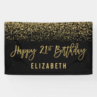 Modern Black Faux Gold Glitter 21st Birthday