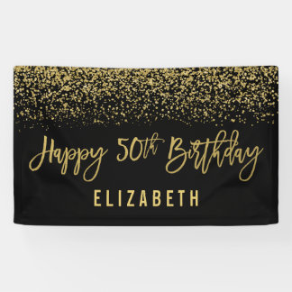 Modern Black Faux Gold Glitter 50th Birthday