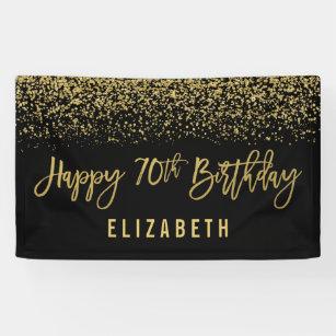Modern Black Faux Gold Glitter 70th Birthday Banner