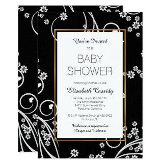 Modern Black Floral Gold Baby Shower Invitation