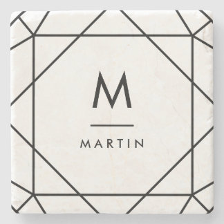 Modern Black Geometric Lines with Monogram Stone Coaster