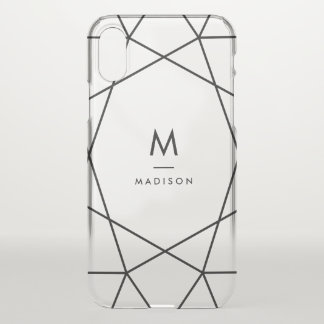 Modern Black Geometric | Monogram iPhone X Case