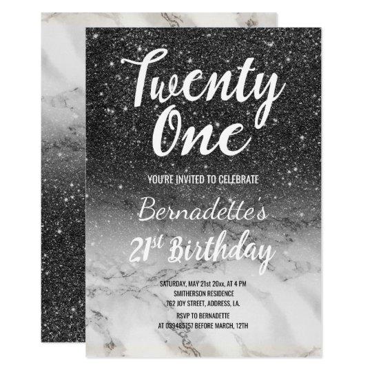 Modern black glitter marble ombre 21st Birthday Card
