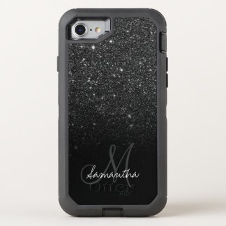 Modern black glitter ombre block personalized OtterBox defender iPhone 8/7 case