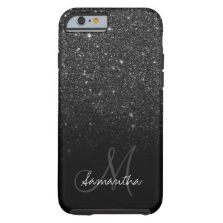 Modern black glitter ombre block personalized tough iPhone 6 case