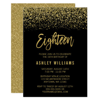 Modern Black Gold Faux Glitter 18th Birthday Card
