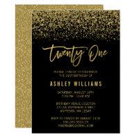 21st birthday invitations announcements zazzle uk modern black gold faux glitter 21st birthday stopboris Gallery