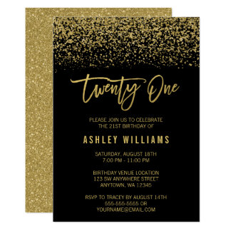 Modern Black Gold Faux Glitter 21st Birthday Card