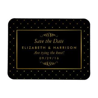 Modern Black & Gold Foil Effect Save The Date Rectangular Photo Magnet