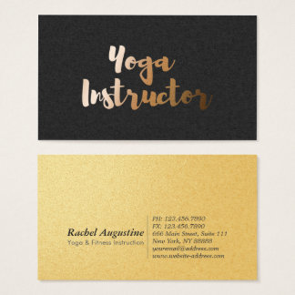 Modern Black Gold Foil Yoga Instructor Typography Business Card