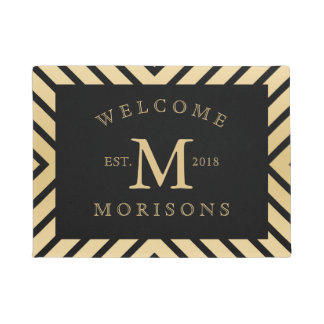 Modern Black & Gold Geometric Design Doormat