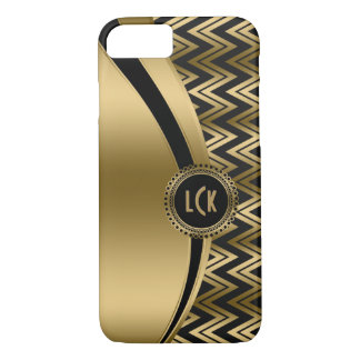 Modern Black & Gold Geometric Zigzag Chevron 2a iPhone 8/7 Case