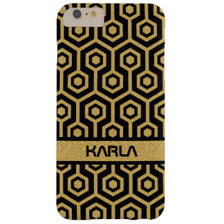 Modern Black & Gold Glitter Octagon Pattern Barely There iPhone 6 Plus Case