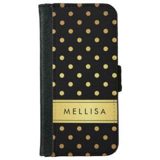 Modern Black Gold Glitter Polka Dots iPhone 6 Wallet Case