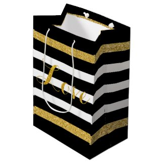 Modern Black & Gold Glitter Stripes