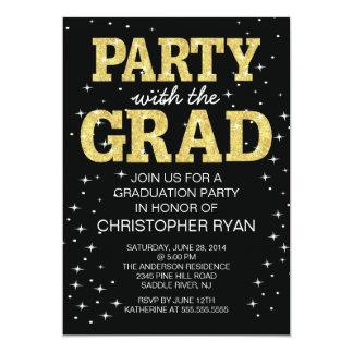 Modern Black Gold Graduation Party Invitation
