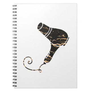 Modern Black & Gold Hair Dryer Art Notebook