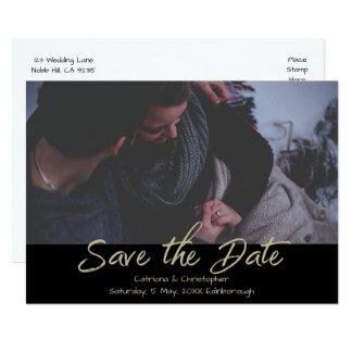 Modern Black Gold Handwritten Photo Save the Date Card