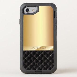 Modern Black & Gold Name OtterBox Defender iPhone 8/7 Case