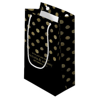 Modern Black & Gold Polka Dots Wedding Favor Small Gift Bag