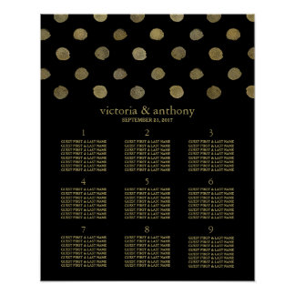 Modern Black & Gold Polka Dots Wedding Table Plan Poster