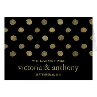 Modern Black & Gold Polka Dots Wedding Thank You Card