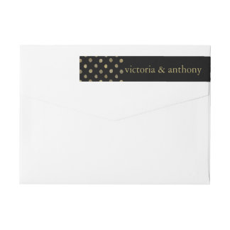 Modern Black & Gold Polka Dots Wedding Wraparound Return Address Label