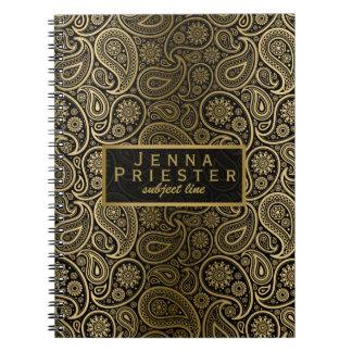 Modern Black & Gold Vintage Paisley Pattern Notebook