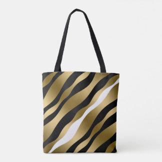 Modern Black Gold & White Abstract Zebra Stripes Tote Bag