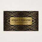 Modern Black & Gold Zebra Stripes Pattern Business Card
