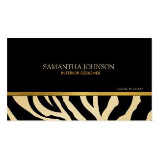 Modern Black & Gold Zebra Stripes with damask Business Card Template