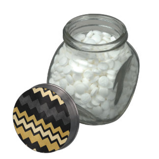 Modern Black Gray Gold Chevron Pattern Candy Jar Glass Candy Jars