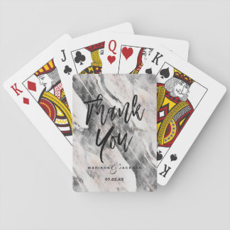 Modern Black & Gray Marble Wedding Thank You Playing Cards