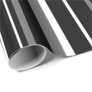 Modern Black Gray White Barcode Stripe Wrapping Paper