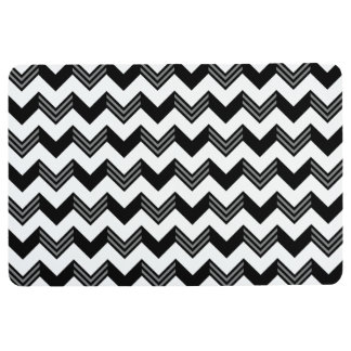 Modern Black, Gray, White Zigzag Chevron Pattern Floor Mat