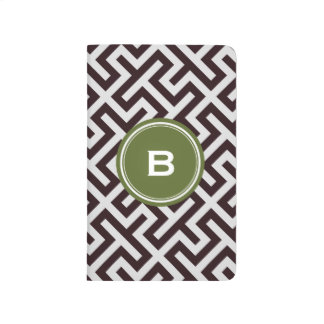 Modern black greek key geometric pattern monogram journal