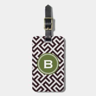 Modern black greek key geometric pattern monogram luggage tag