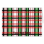 Modern black green red and white plaid pattern card