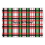 Modern black green red and white plaid pattern greeting cards