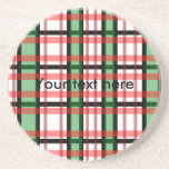 Modern black green red and white plaid pattern coaster