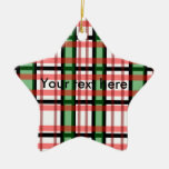Modern black green red and white plaid pattern christmas tree ornament
