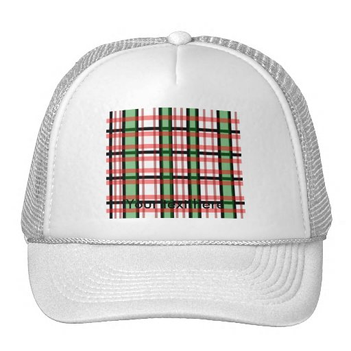 Modern black green red and white plaid pattern hats