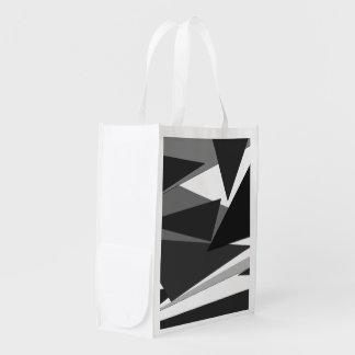 Modern Black, Grey, & White Geometric Triangles Reusable Grocery Bag