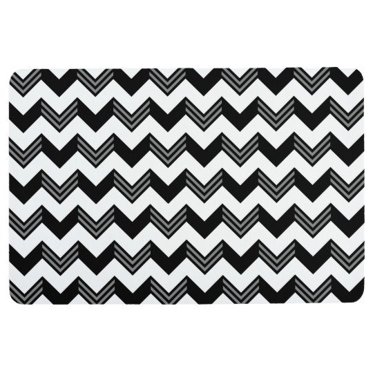 Modern Black, Grey, White Zigzag Chevron Pattern Floor