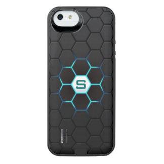 Modern Black Hexagonal Glow Pattern Personalized iPhone SE/5/5s Battery Case