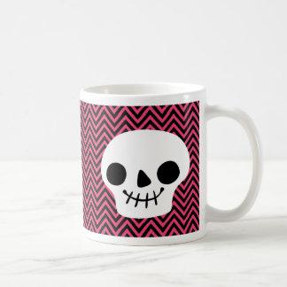 Modern Black Hot Pink Chevron Skeleton Halloween Basic White Mug