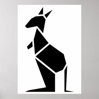 Modern black kangaroo symbol poster