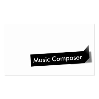 Modern Black Label Music Composer Business Card
